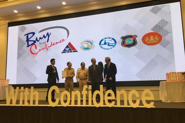 Consumer confidence is back up to the level of early 2013, when the Bangkok Shutdown protests began, helped up by government support such as this 'Buy With Confidence' exhibition by the Ministry of Commerce in April. (Photo courtesy Ministry of Commerce)