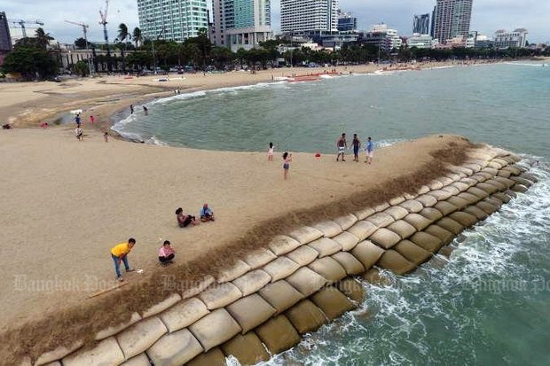 Northern Pattaya beach, recently widened by construction of a