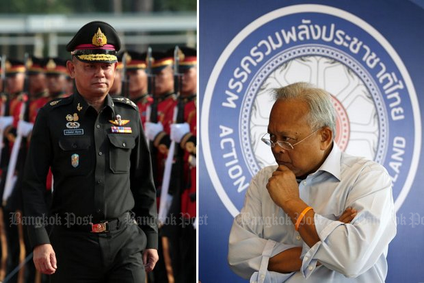 Army commander and junta secretary-general Gen Chalermchai Sitthisad (left) has told Suthep 'Kamnan' Thaugsuban and his new Action Coalition for Thailand (ACT) Party to drop plans for a caravan to greet supporters. (File photos)