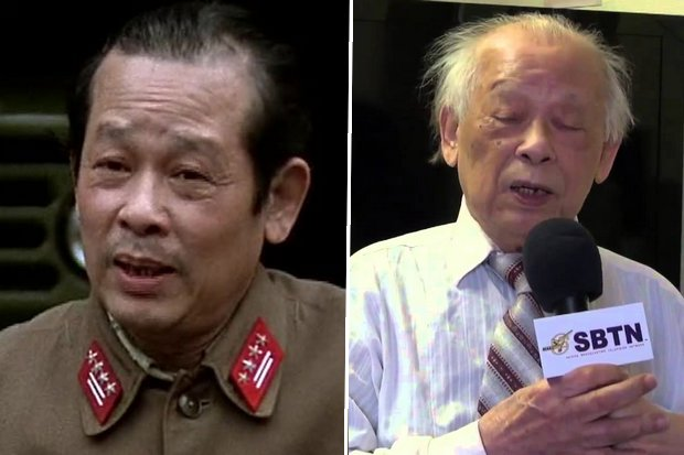 Bui Tin, Vietnamese army colonel and anti-communist figure. Photos US Public Broadcasting (left) and France-based 'Saigon Broadcasting TV Network'.