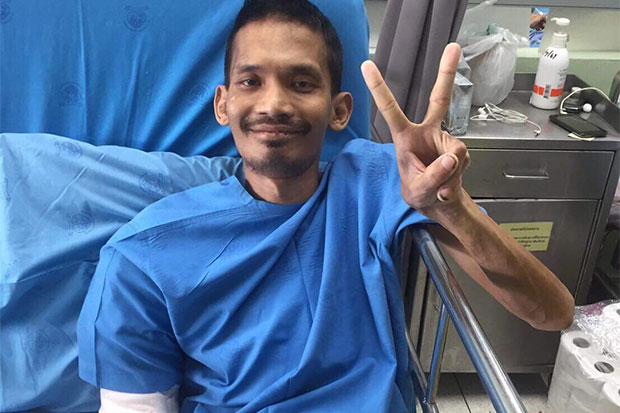 Mr Nyein Chan Oo, 39, a Myanmar violist reported missing since Aug 2, is found in treatment at Nopparat Rajathanee Hospital in Bangkok. (Supplied photo)