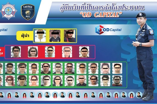 Police briefing poster shows chief investigator Pol Maj Gen Surachate 'Big Joke' Hakparn of the police call-centre suppression division and the organisation chart of the alleged OD Capital pyramid scheme. (Photo via touristpolice.go.th)
