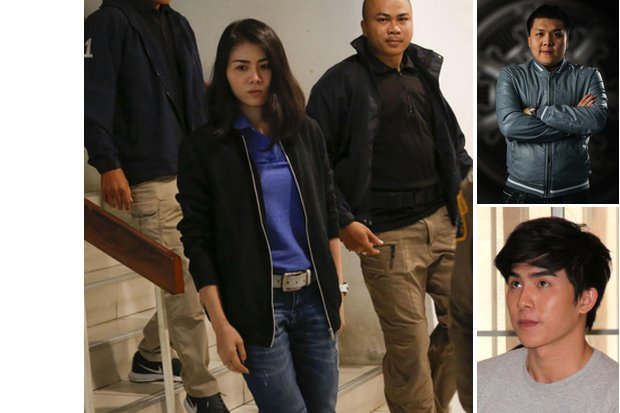 Suphitcha (left) and soaps actor Jiratpisit 'Boom' Jaravijit (bottom right) have already talked with police about the bitcoin scam, while police want to talk with their elder brother Prinya (top right) and others they believe have information about the case. (File photos)