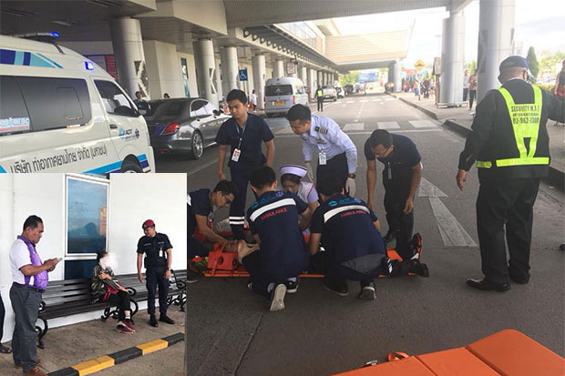 Medical staff attend to the severely injured security guard after the road rage incident at Chiang Mai airport on Monday afternoon. Police have charged a 69-year-old woman (inset). (Photo by @chiangmaiairport Facebook page)