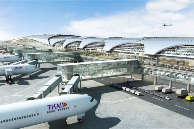 An artist's impression of the accepted design for the new 'T2' at Suvarnabhumi airport. The prime minister now has leapt into the controversy over alleged rigging of the bids eventually won by DBALP Consortium. (Graphic via AoT)
