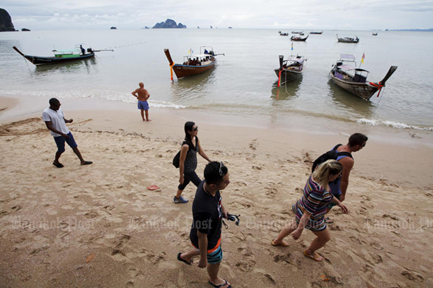 Krabi is high on the list of foreign beachgoers visiting Thailand. (Post Today photo)