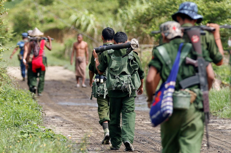Myanmar soldiers patrol a road in Maungdaw on  Aug 31, 2017. (Reuters photo)