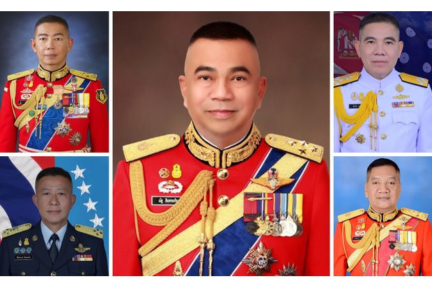 Gen Apirat Kongsompong (top left) will become the new army chief starting Oct 1 while Adm Luechai Ruddit (top right) and ACM Chaiyapruk Ditsayasarin (bottom left) will head the navy and the air force respectively. Gen Nat Intaracharoen (centre) will be permanent secretary of the Defence Ministry and Gen Pornpipat Benyasri (bottom right) will lead the Royal Thai Armed Forces Headquarters.