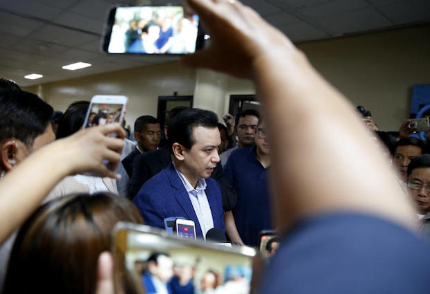 Philippine opposition Sen. Antonio Trillanes IV issues his statement during a hastily-called news conference at the Philippines Senate on Tuesday in suburban Pasay city, south of Manila, Philippines. (AP photo)
