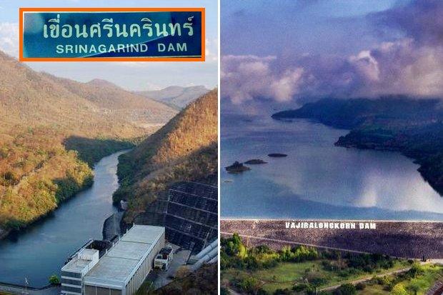 Sri Nakharin and Vajiralongkorn dams in Kanchanaburi province have started to overflow. (File photos)