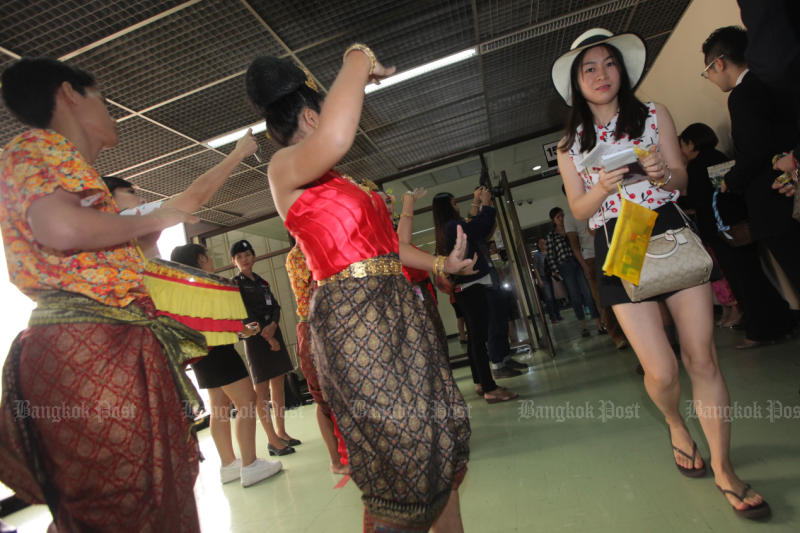 Don Mueang airport holds an event to welcome Chinese tourists. (Bangkok Post file photo)