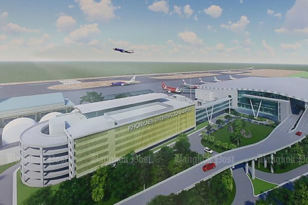 An artist's impression of a new terminal of Khon Kaen airport. (Photo by Chakrapan Natanri)