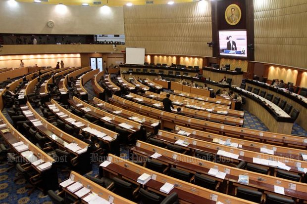 Seats in the Senate will sport mostly military uniforms when the all-selected upper house meets after the general election. (File photo by Chanat Katanyu)