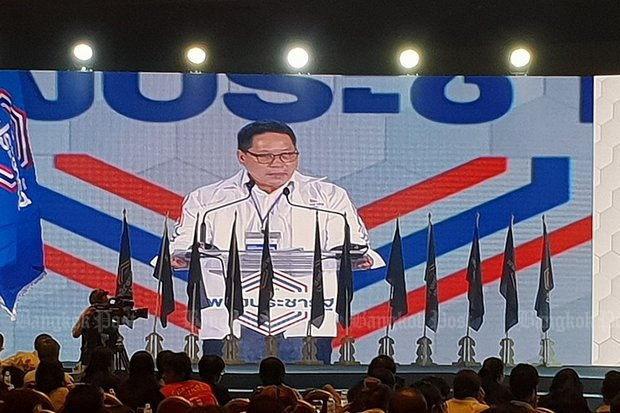 Demands are rapidly escalating for the resignations of new Palang Pracharath Party leader, Industry Minister Uttama Savanayana (above) and cabinet colleagues who have openly declared as politicians campaigning for the ruling National Council for Peace and Order (NCPO). (Post Today photo)