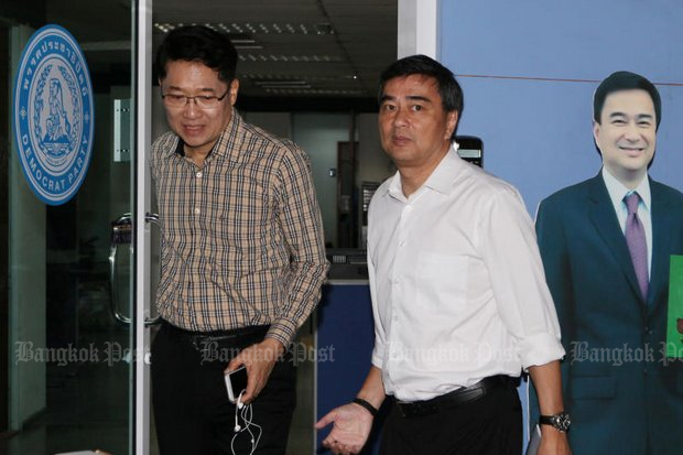 Democrat Party leader Abhisit Vejjajiva will face at least two powerful challengers to his party position in a vote scheduled to start on Nov 1. (Photo by Apichit Jinakul)