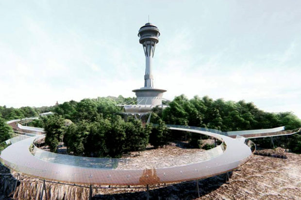 The conceptual design of the Hua Hin Sky Walk Tower and its elevated glass-paved walkway planned for Hin Lek Fai hill. (Illustrations supplied)