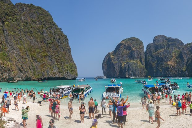 Maya Bay's beach off Krabi province will be closed for at least another year, and possibly until 2020. (File photos)