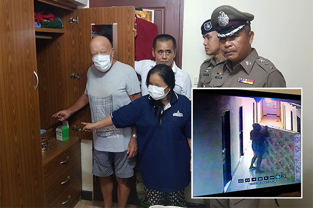 Police take Sidney Michael  Edward, 72, a British national, and his wife Phensakao Nasok, 45, of Mukdahan, to the room of another Brit in Pattaya, where cash and a  large mattress were stolen (inset) while the tenant was on holiday. (Footage obtained via Chaiyot Pupattanapong)