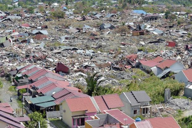 This aerial photograph shows devastation from soil liquefaction at Petobo in Palu on Sunday following the Sept 28 earthquake and tsunami. (AFP)