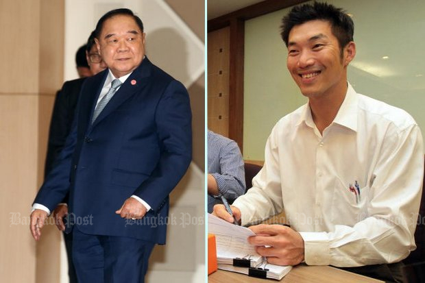 First Deputy Prime Minister Prawit Wongsuwon (left) claims Future Forward leader Thanathorn Juangroongruangkit does not have the right to criticise the government while overseas. (Bangkok Post file photos)