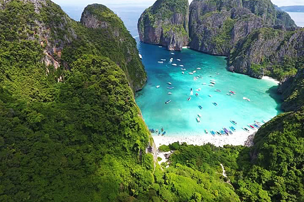 Maya Bay and Koh Similan in Thailand, and Boracay in the Philippines are among a growing number of Asian destinations facing a bleak future as visitor numbers explode, resulting in temporary closures and restrictions on visitor numbers. -- Photo courtesy of Hat Noppharat Thara-Mu Koh Phi Phi National Park
