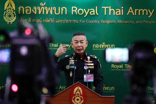 Gen Apirat Kongsompong speaks during his first press conference as Royal Thai Army commander on Oct 17, the session where he refused to rule out another coup. (Reuters photo)