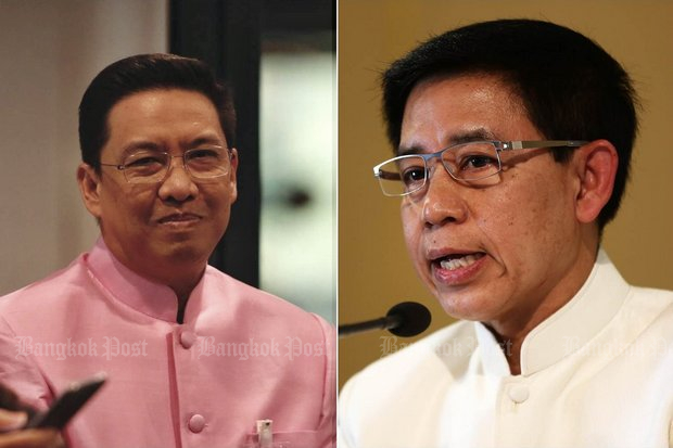 Recently appointed Prayut adviser Buddhipongse Punnakanta (left) is the new government spokesman, as Lt Gen Sansern Kaewkamnerd remains as head of the extensive network of government-run media. (File photos)