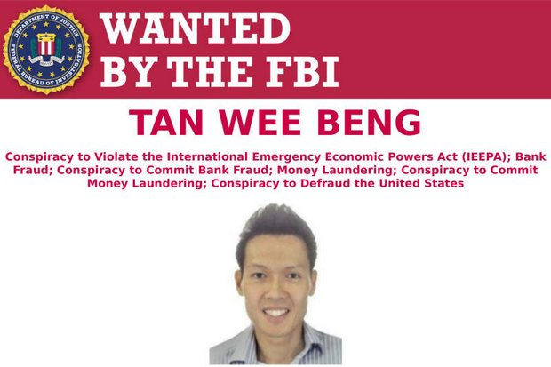 Wanted poster obtained from the FBI shows Singapore businessman Tan Wee Beng, 41. US prosecutors charged Tan, once lauded as a leading young entrepreneur, with laundering millions of dollars in funds for North Korea.