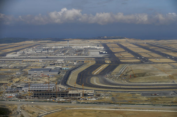 An aerial view of Istanbul's new airport is shown ahead of its opening on Monday. (AP photo)