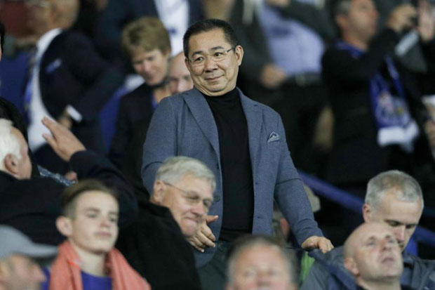 Leicester City chairman Vichai Srivaddhanaprabha reacts ahead of the Uefa Champions League group G football match between Leicester City and Porto at the King Power Stadium on Sept 27, 2016. (AFP photo)