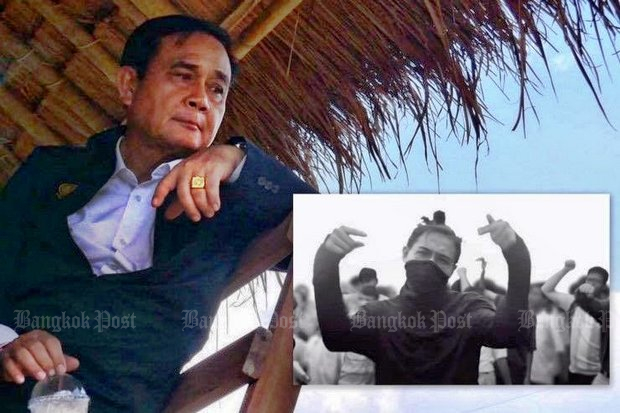 Prime Minister Prayut Chan-o-cha, in Chiang Rai for a mobile cabinet meeting, complained he was the victim of the Prathet Ku Mee music video on YouTube, which reached 21 million views (and counting) on Tuesday morning. (Photos Post Today and YouTube/Rap Against Dictatorship)