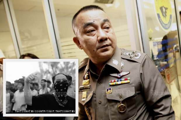 Pol Gen Srivara Ransibrahmanakul says he has barely begun his campaign against Rap Against Dictatorship, saying that a close study of the lyrics of Prathet Ku Mee indicates some lines are 'not entirely true'. (File photos)