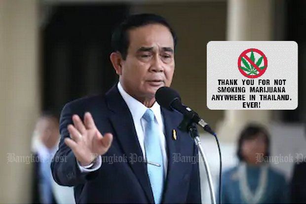 Prime Minister Prayut Chan-o-cha says recreational marijuana will never be permitted in Thailand because it's not time 'to smoke pot and laugh all day'. (File photo)