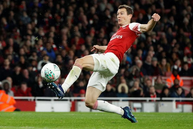Stephan Lichtsteiner of Arsenal opened the scoring in the first half of the Carabao Cup match against Blackpool at the Emirates Stadium in London (Action Images via Reuters)
