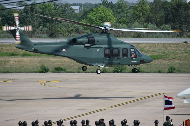 An AgustaWestland AW139 in Royal Thai Army livery, seen here at Khon Kaen in May of 2016, was one of several purchased by the army under then-commander Gen Prayut Chan-o-cha. (Creative Commons via Wikimedia)