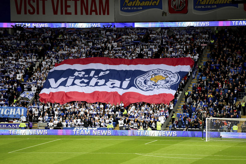 Leicester City fans with a giant banner that reads