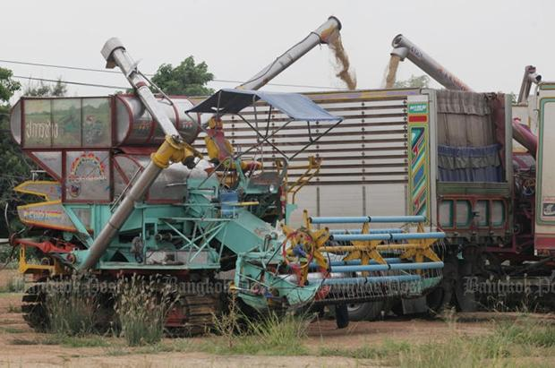 Machines will be provided for farmers to help them harvest rice crops by year's end. (Bangkok Post file photo)