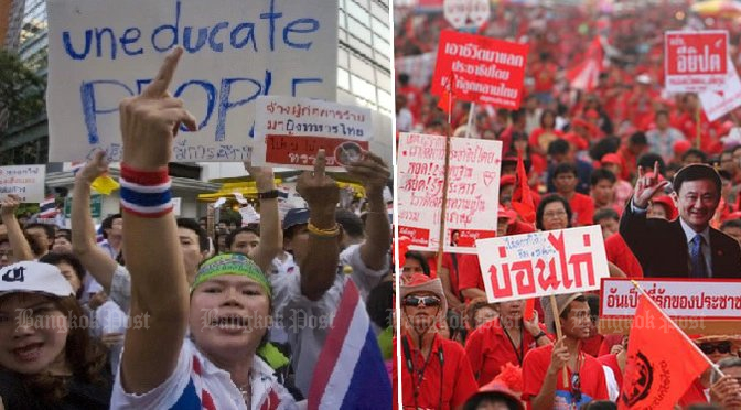It seems most likely that the most vociferous pro- and anti-Thaksin mobs will no longer dominate politics, in the run-up to the election and afterwards. (File photos)