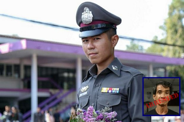 New Police Lance Corporal Atsadawut Makpradit successfully searched for tje suspect who killed his father 20 years ago. (Photos courtesy Royal Thai Police)