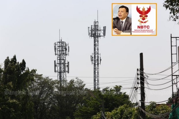 Takorn Tantasith (inset) secretary-general of the National Broadcasting and Telecommunications Commission (NBTC) wants to know from the World Health Organisation if telecom towers and base stations like these in Bangkok's Sai Mai district post a health threat. The WHO can't tell him. (File photo by Pattanapong Hirunard)