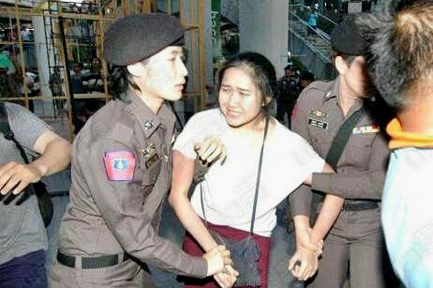 Police charged Chanoknan Ruamsap in mid-January with lese majeste for clicking