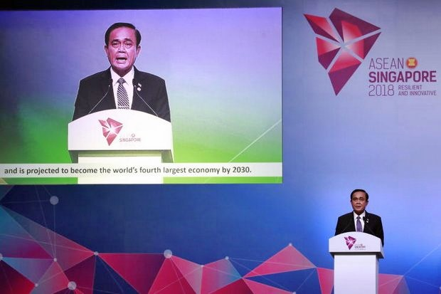 Prime Minister Prayut Chan-o-cha's rehearsed acceptance speech of the Asean chairmanship for 2019 included subtitles. (EPA photo)