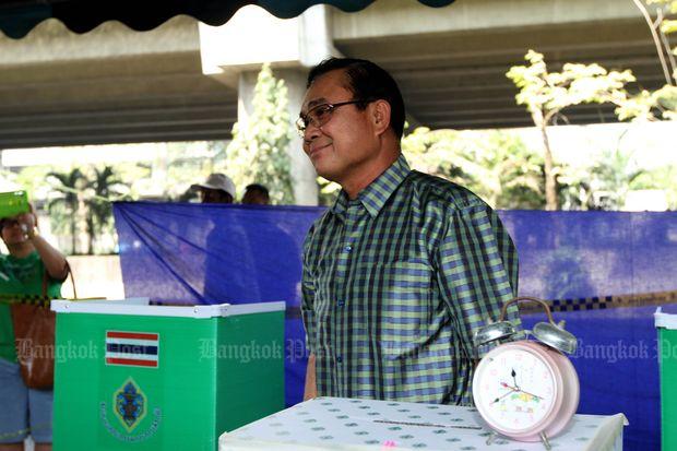 In this Feb 2, 2014 file photo, then army chief Gen Prayut Chan-o-cha casts the ballot at a poll station in Bangkok. (Bangkok Post file photo)