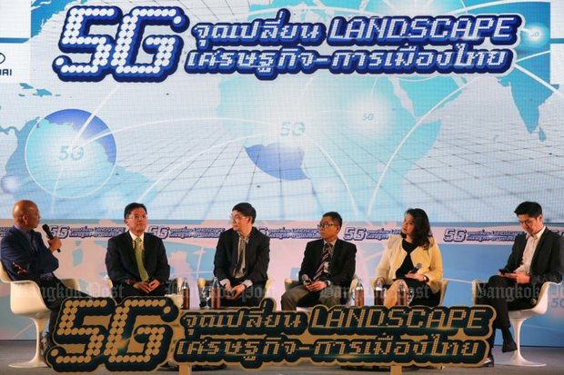 Panellists at the forum provided eye-opening analysis of the coming revolution called 5G. (Photo by Wichan Charoenkiatpakul)L