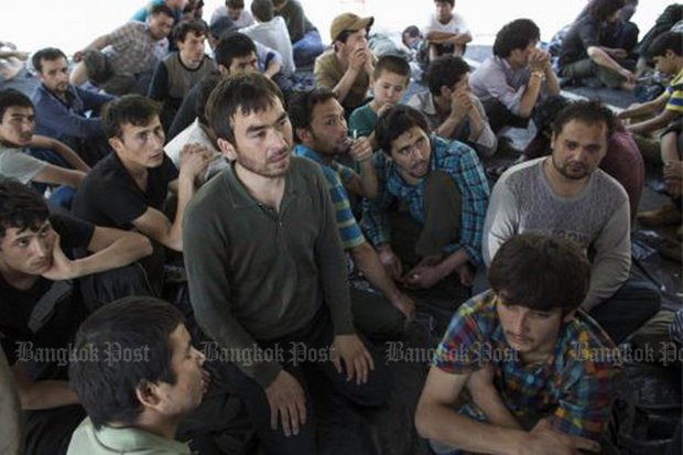 Uighur refugees arrived at the Songkhla camp in 2015. (File photo)
