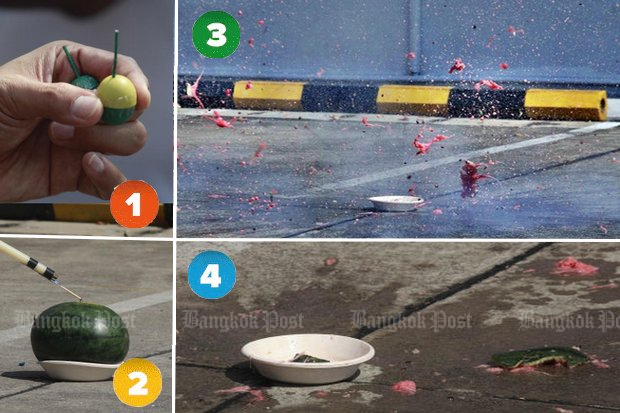 1. Take a 'ping pong firecracker'. 2. Put it in a watermelon. Light. 3. Watch it tear the watermelon into red bits, alarmingly similar to torn flesh colour. 4. See what little is left of what could have been your dessert. 5. Consider what would happen if it went off anywhere near you or Loy Krathong celebrants. (Photos by Pornprom Satrabhaya)