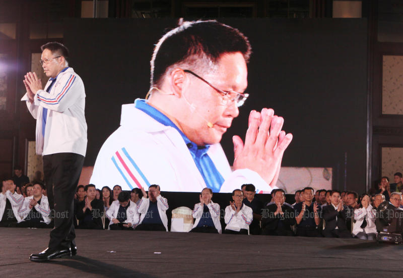 Palang Pracharath leader Uttama Savanayana says the party would not be perturbed if the Election Commission launches a vote-buying investigation. (Photo by Apichit Jinakul)