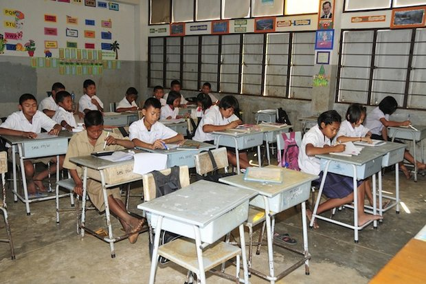 One of the origins of the 'ghost students' problem was the aggressive campaign to merge small schools with large ones - an unpopular project in much of the country. (Photo courtesy EDF International Foundation)