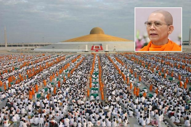 Wat Phra Dhammakaya, with its thousands of monks and hundreds of thousands of members who revere fugitive founder Phra Dhammachayo (inset), is Thailand's biggest temple in acreage and membership. The OAG says it is not too big to prosecute. (File photo)