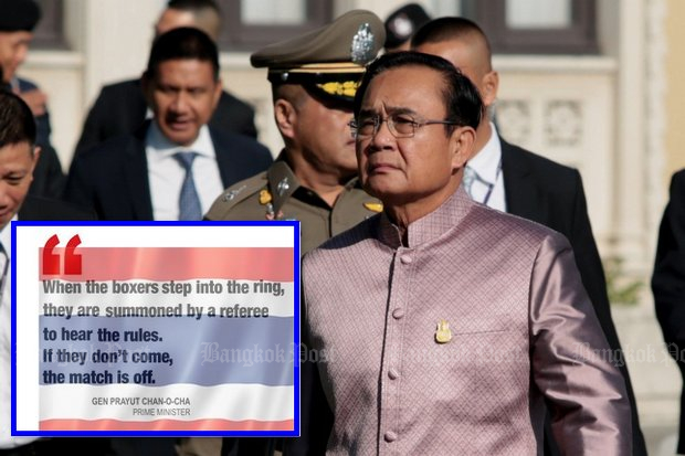 Prime Minister Prayut Chan-o-cha was openly annoyed when the two top political parties, Democrats and Pheu Thai, said they will boycott Friday's meeting at the Army Club.